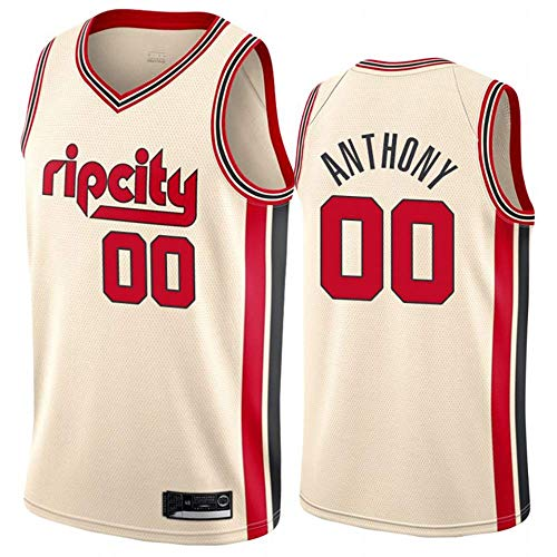 Mingui Trading NBA herenshirt, mannen vrouwen Jersey - Portland Trail Blazers 00# Anthony Jerseys Breath geborduurde basketbal Swingman Jersey, (maat: S-XXL)
