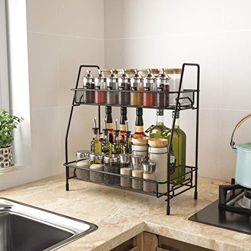 Spice Seasoning Rack Organizer for Countertop Kitchen 2Tier Spice Shelf Holder Standing Counter Storage Metal Bathroom Countertop Shelves Rack OrganizerBlack