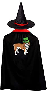 Halloween Costumes Witch Wizard Bulldog St Patrick Day Cloak with Hat Kids Cape Child's Party Cosplay Props Set Boys Girls Red