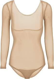 inlzdz Women's Sheer Mesh Long Sleeves Chest Opened Belly Dance Leotard Tops Bodysuit
