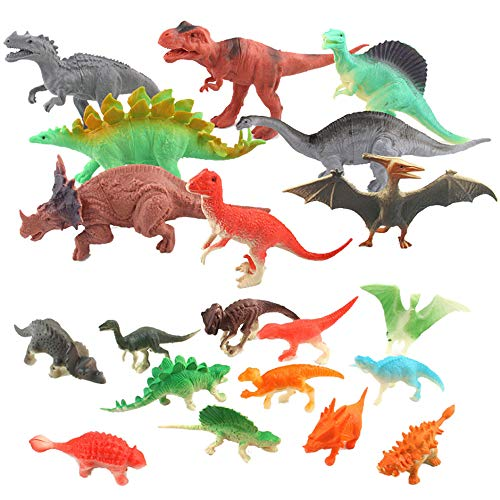 Iusun 20 Pieces Dinosaur Toy Set Early Education Toys Multifunctional Learning Creative Toy Games Learning Developmental Tools for Kids Girls Birthday Gift Set (Multicolor)