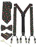 JEMYGINS Hosenträger Herren Schwarzgrün, Weihnachts geschenk in Seide Weihnachten begrenzt 3.5cm Y Form mit 6 starken Clips Weihnachtsgeschenke und Krawatte Fliege Einstecktuch Set...