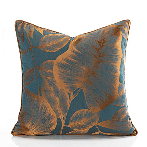 Modern Minimalist Printed Lake Blue Pillowcase,Banana Leaf Printed Sofa Large Backrest Pillow,is The Best Choice for Your Home.(Size:50×50cm)