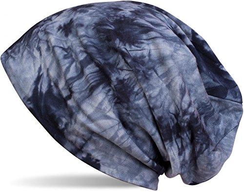 styleBREAKER Beanie Mütze mit Batik Muster, Vintage Washed Look, Slouch Longbeanie, Unisex 04024081, Farbe:Dunkelblau-Blau
