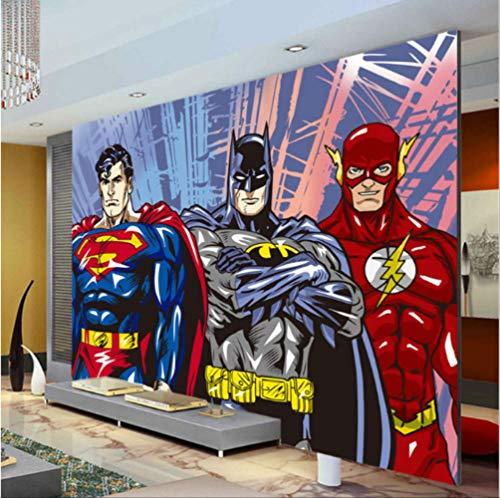Benutzerdefinierte 3d Wandbilder Batman Superman Flash Wallpaper Comics Fototapete Jungen Kinder Schlafzimmer Wohnzimmer Raumdekor Superheld Breite 200cm * Höhe200cm A