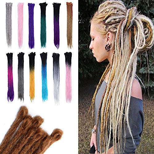 Dreadlocks Hair Extensions 20 inch Faux Locs Crochet Twist Braiding Hair Pieces for African American Reggae Hipple Style 20pcs/Pack Bleach Blonde