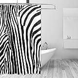 FANTAZIO Duschvorhang mit Zebra-Muster, Polyester, mit dicken C-förmigen Haken, für Badezimmer, wasserdicht, langlebig & superwasserdicht, 183 x 183 cm