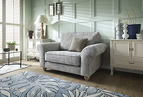 Abakus Direct | Ingrid 3 or 2 Seater Sofa Set, Armchair, Cuddle Chair in Chenille Ash Grey (Cuddle Chair)