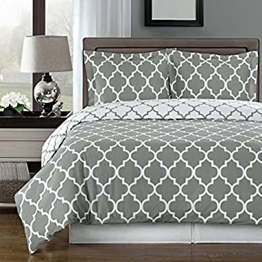 Gray and White Meridian 3-piece Full / Queen Comforter Cover (Duvet-Cover-Set) 100 % Cotton 300 TC