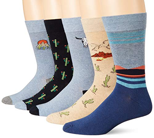 Goodthreads 5-Pack Patterned Socks Casual, Paquete de cactus, Talla única, Pack de 5