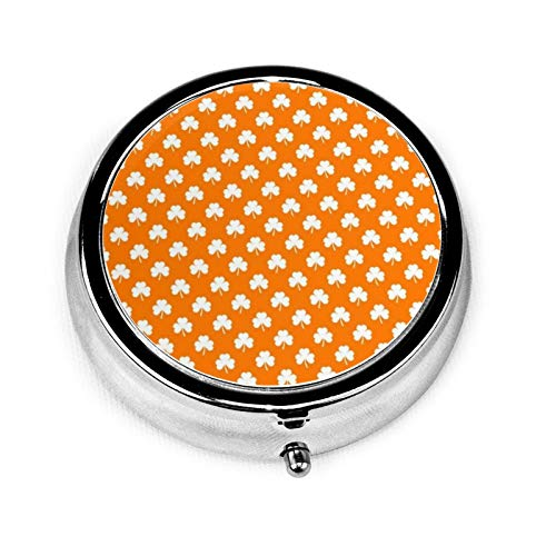 White Heart Shaped Clover On Orange St Patrick's Round Pill Container 3 Compartment Metal Medicine Case Vitamin Organizer Holder Decorative Box for Travel Outdoors