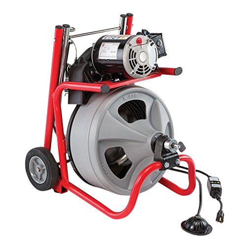 RIDGID 52363 K-400 Drum Machine with C-32 3/8 Inch x 75 Foot Integral Wound (IW) Solid Core Cable, Drain Cleaning Machine