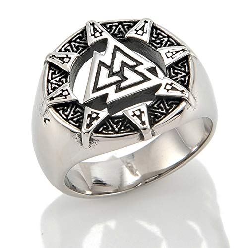 Odin Sign Finger Ring, Vintage Viking Rune Ring, Norse Retro Stainless Steel Triangle Symbol Ring, Scandinavia Finger Ring, Leather Gift Bag, Size 8-12,9