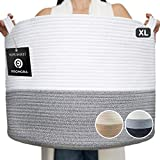 Promora Cotton Rope Large Storage Basket - Woven Storage Basket for Living Room, Bedroom, Kids Room, Laundry Room and organizing Nursery Room- Blanket Basket with Handles (White & Grey, XX-Large)