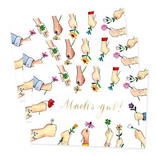 3er Set Abschiedskarte, Karte -Machs gut- für Arbeitskollege oder Chef, Glückwunschkarte Abschied Freund Freundin, Geschenkidee, Geschenk zum Abschied, Ruhestand, Elternzeit, Umzug