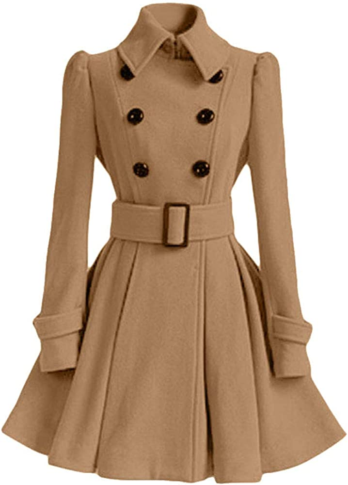 LINGMIN Women's Double Breasted Cheap super special price Pea Swin Sleeve Coats Long Lapel Ranking TOP3