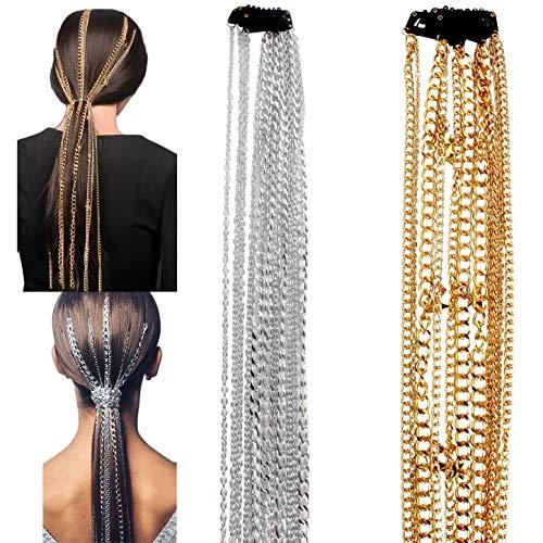GSYYSZD Longue chaîne de Cheveux, Extensions Multi 2Pcs Strand Chaîne Argent Punk Hip-Hop Ponytail Tassel Fashion Party Coiffe Métal Fading Filles Bandeau Pas Hairclip