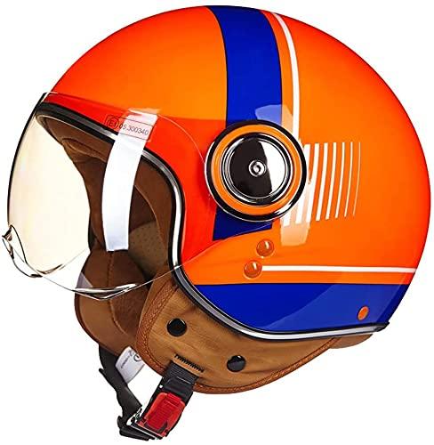 Medio Casco de Motocicleta para Adultos, Aprobado por Dot/ECE 3/4 Cascos de Motocicleta Estilo Retro, Cara Abierta, Chopper, Scooter, Crucero, Casco (Color : D, Size : X-Large)