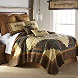 Full / Queen Quilt - Cabin Raising Pine Cone by Donna Sharp - Lodge Quilt with Colorful Patchwork - Fits Queen Size and Full Size Beds - Machine Washable