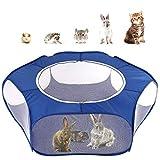 Pawaboo Parque Corral para Animales Pequeño, Valla Portátil Plegable de 190T Tafetán para Perros, Gatos, Conejos, Cachorro, Mascota y Animales Domésticos, 65 x 38 x 6 CM - Índigo