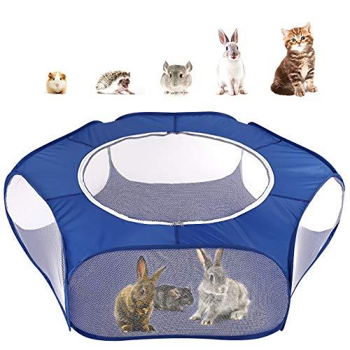 Pawaboo Kleintiere Freigehege, Wasserdicht Faltbar Kaninchen Freilaufgehege mit Atmungsaktiv Netz und Reißverschluss, Tragbar Außen Innen Laufstall für Hasen Hühner Kätzchen Welpen Hamster - Indigo