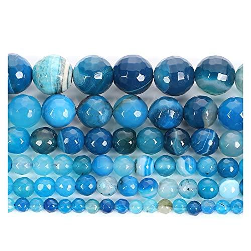 JOMOSIN KJ830 Cuentas de Piedra Natural Cortadas de Superficie Azul a Rayas de Abalorios Sueltos para joyería Haciendo Costura Bricolaje Pulsera Strand 4-12 mm Accesorios de joyería