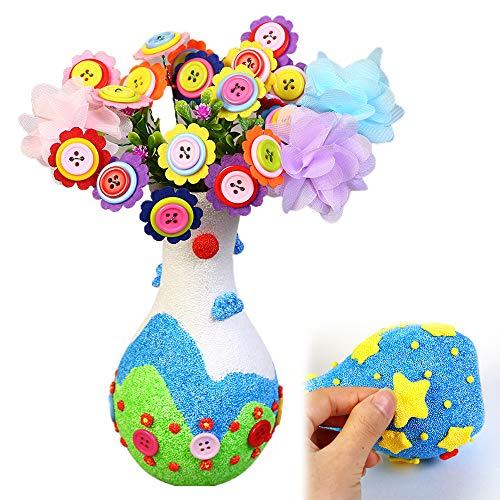 ZoneYan Bastelset Kinder Blumen Vase, DIY Vase with Flowers, DIY bastelset, DIY Bastelset Blumenstrauß, Bastelset Kinder, Draht Stoff Blumenknöpfe filzblumen Bouquet Geschenke für Kinder