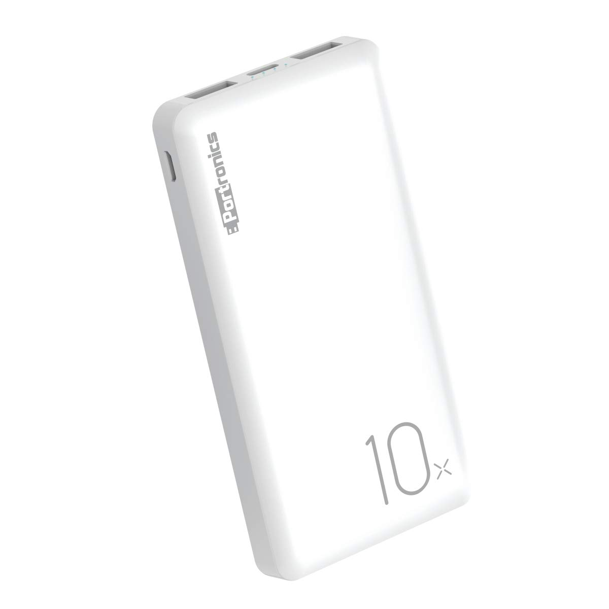 Portronics Power Wallet 10X 10000mAh POR-1049 Li-Polymer Battery Power Bank with LED Indicator, 2.0A Dual Input (Type C + Micro USB) and Dual USB Output (2.1A + 1.0A) for All Android and iOS Devices (White)