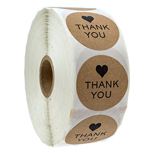 """1"""" Round Kraft Thank You Heart Stickers / 1,000 Labels per Roll"""