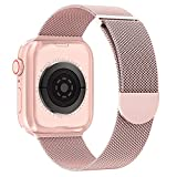 OULUOQI Compatible with Apple Watch Band 38mm 40mm 41mm 42mm 44mm 45mm Women and Men, Stainless Steel Mesh Loop Magnetic Clasp Replacement for iWatch Band Series SE 7 6 5 4 3 2 1 (42mm Rose Gold)