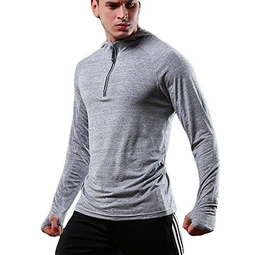FELiCON Hommes Sweatshirt Zipper à Manches Longues avec Capuche, Running Jogging Top, pour Hommes,M,Gris