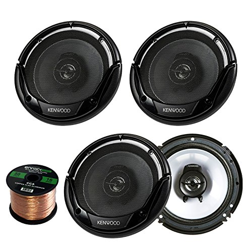 2 Pairs Car Speaker Package of 4X Kenwood KFC-1665S 6 1/2' Inch 2-Way Black Car Stereo Coaxial Speakers - Bundle Combo with Enrock 16g 50 Feet Speaker Wire
