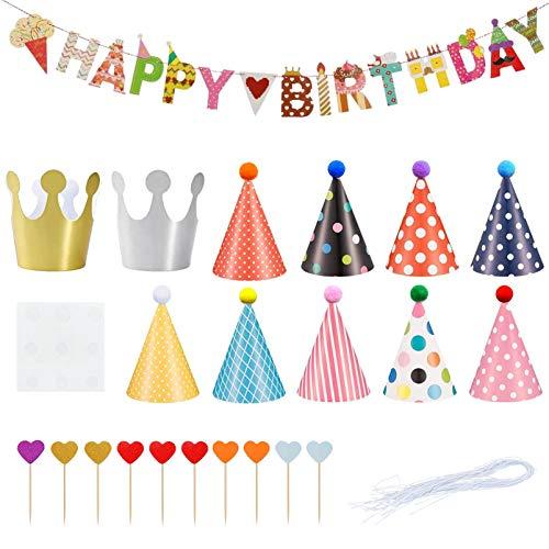 Xionghonglong Partyhüte,Geburtstag Party Dekoration,9 Kegel Hüte mit Pom Poms,Geburtstagsfeier Dekorationen,Geburtstagsfeier Spruchband,Geburtstagsfeier Partyhüte,23 pcs Geburtstag Dekoration