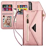 Samsung Galaxy Note 10 Wallet Case with Strap for Women,Kudex Trifold 7 Card Holder Protective Leather Flip Magnetic Zipper Purse Case with Kickstand Money Pocket for Samsung Note 10 6.3''(Rose Gold)