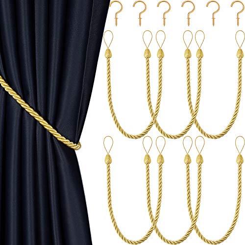 6 Stücke Geflochtene Vorhang Raffhalter Seil Gürtel Vorhang Krawatten Handgefertigte Vorhanghalterungen Vorhang Raffhalter mit Metall Vorhang Raffhalter Haken für Fenster Zubehör, Gold