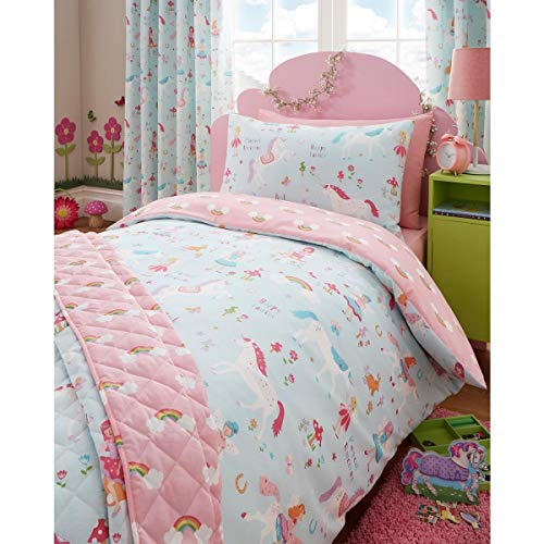 NCS Magical Unicorns Fairies Rainbow Girls Pink Single Duvet Cover Quilt Bedding Set