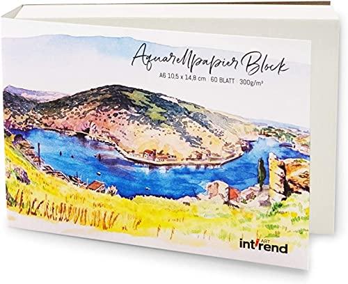 INT!REND Papel de acuarela A6 | Cuaderno para acuarelas, 60 hojas, 300 g | Watercolor paper, cuaderno lettering, pinturas de acuarela