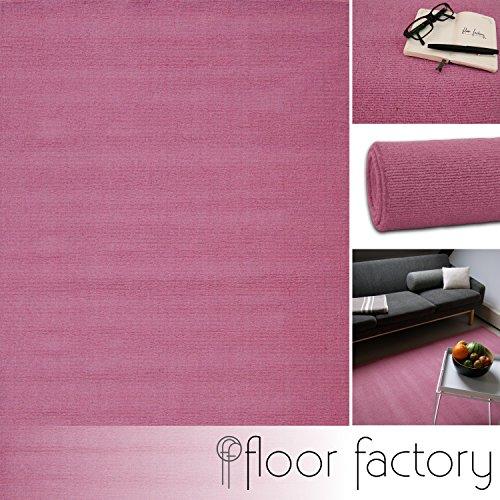 floor factory Moderner Designer Wollteppich Loft Rose rosa 80x150cm - Reine Wolle in leuchtenden modernen Farben