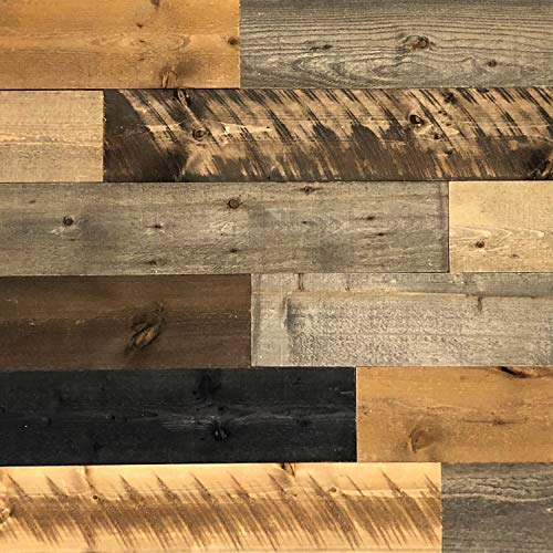 """All Natural Real Solid Wood Accent Wall Planks VOC Free Reclaimed Inspired Panels DIY Barn Wood Boards Aged Rustic Vintage Distressed Weathered Antique Look (6""""W x 48""""L x ½""""D, Mix Colors)"""