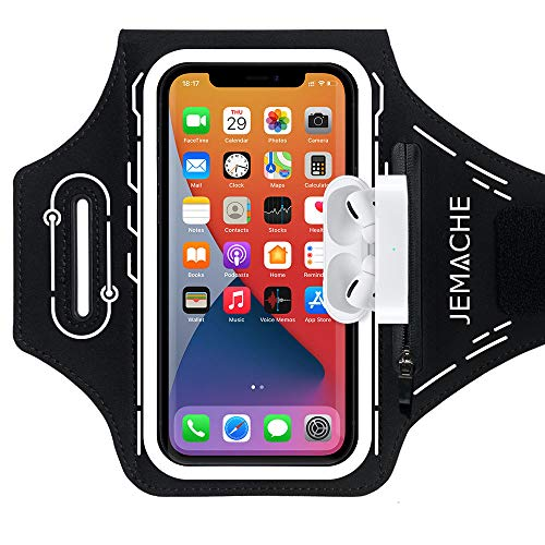 JEMACHE Machine-Series Running Armband for iPhone 12 11 XR X XS, 12 Mini, 12 Pro, Samsung Galaxy S20 S10 S9 S8, Pixel 5 4a 4 3a 3, Gym Workouts Arm Band with Airpods Pro Holder (Black)