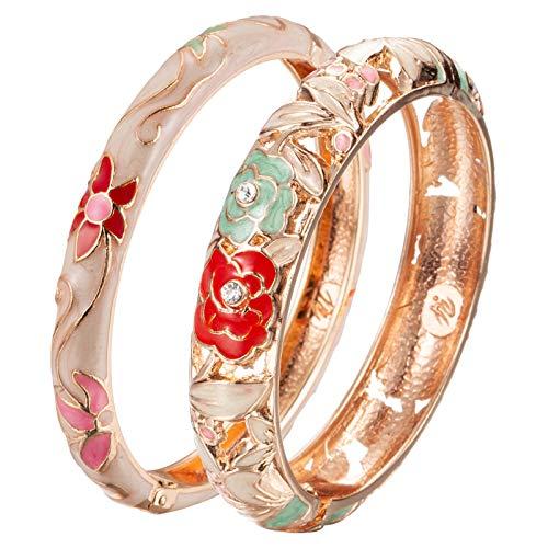 UJOY Cloisonne Bangle Colorful Enamel Golden Filigree Rose Hollowed Crystal Bracelet for Women Gifts 88A10 Green White