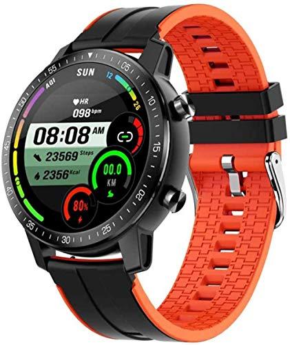 Nuevo reloj inteligente IP68 resistente al agua, rastreador de actividad física, monitor de ritmo cardíaco, para hombres y mujeres, reloj inteligente Bluetooth 5.0 para Android iOS - naranja