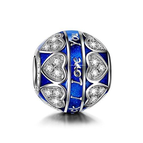 NINAQUEEN Charm Encaja con Pandora Amor Azul Regalos Mujer Originales Plata de Ley 925 Esmalte Abalorios para Niñas Madre Hija Esposa de Cumpleaños