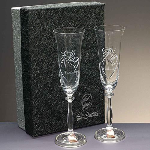 Set 2 Copas de champán para Novios, Bodas de Plata/Oro, Aniversarios, talladas a Mano, colección Angela-Grabado, pie en Plata de Ley 925 - grabación Personalizada con Nombres, Fecha, etc.