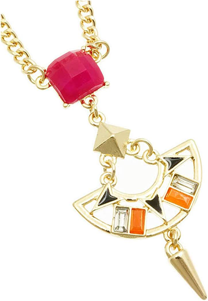 Fashion Jewelry ~ Fuchsia Faceted Homaica Stone Cutout Metal Spike Pendant Necklace for Women Teens Girlfriends Birthday Gifts