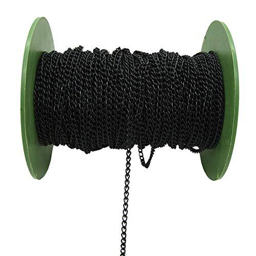 HanPaint 2,5/3,5/4,5 mm Cadenas Collar 2M / Paquete de rodio/Plata/Oro del KC/gunblack/de Bronce Antiguo Plano del Color de la Cadena para la joyería de Bricolaje Black 3.5MM
