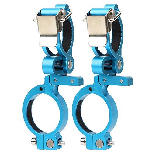 XINMYD Soporte de lámpara para Manillar de Bicicleta, Soporte Fijo para Manillar de luz de Bicicleta, Accesorio de Clip de Linterna de Doble Orificio Redondo(Azul)