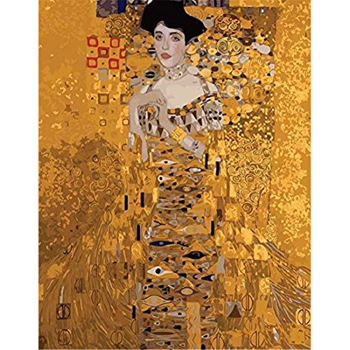 Malen nach Zahlen für Erwachsene, Kinder DIY Ölgemälde Leinen Leinwand Acryl Nummer Malerei Geschenke - Klimt, Adele Porträts, Gold Farbe 40x50cm (Rahmenlos)