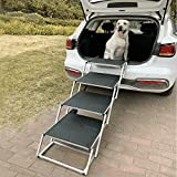 Widen Foldable Aluminum Frame Dog Car Stairs, 4 Steps Portable &Lightweight Pet Stairs, The Widest and Deepest Ladder on The Market, Nonslip Pet Ramp for Cars, Trucks and SUVs, Support 150 to 200 lbs