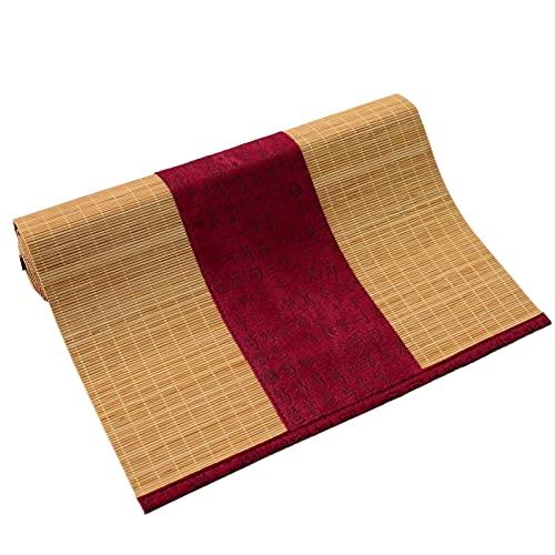 Caminos de Mesa Manteles Estilo Japones Dobladillo Mantel Individual Hecho A Mano Listón de Bambú Práctico para el Restaurante de La Oficina del Salón de Té, Antideslizante y Resistente al Calor